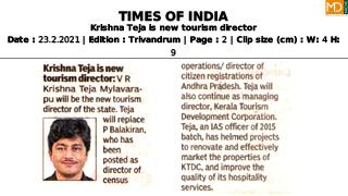 Krishna Teja is new tourism director