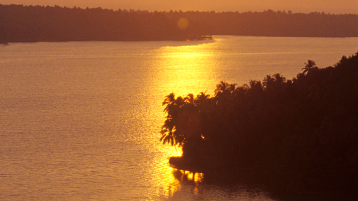 Placid backwater stretch of Ashtamudi, Kollam