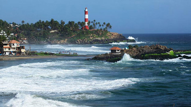 Lighthouse Beach At Kovalam In