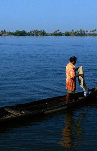 Placid backwater stretch of Ashtamudi, Kollam