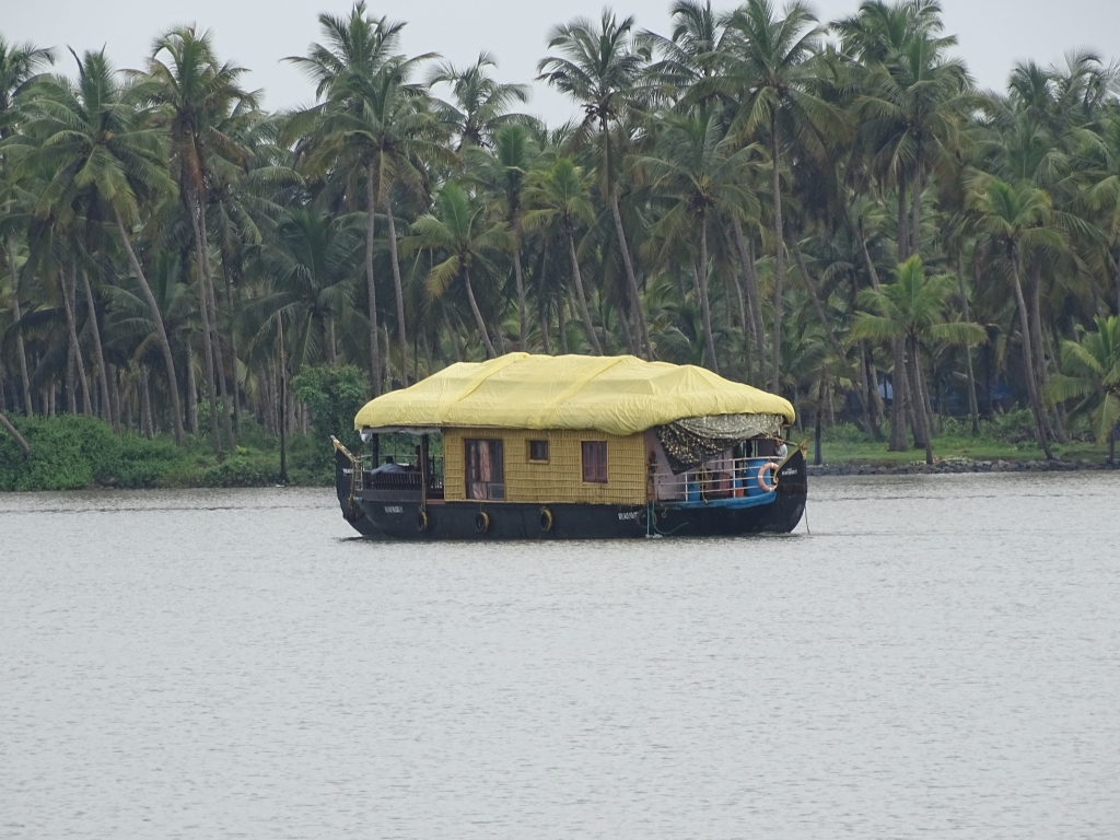 A houseboat on cruise at Kottappuram Backwaters