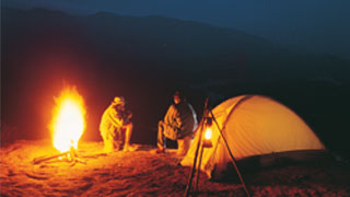 Feu de camp sur les collines de Mangala, Thekkady