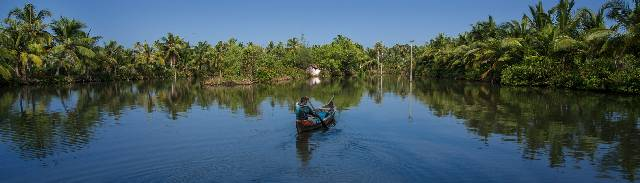 A country boat in the backwaters