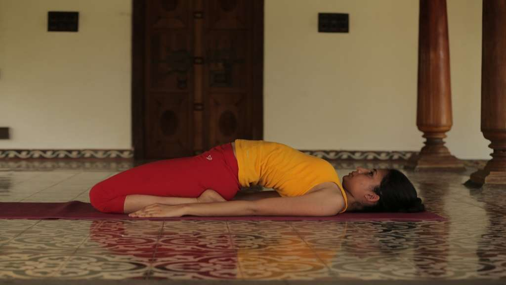 Supta Vajrasana - The Diamond Pose, in recline