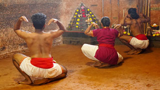 Practicing exercises in Kalaripayattu