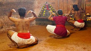 Practicing exercises in Kalaripayattu