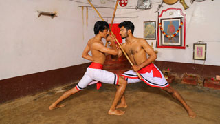 Stick fight in Kalaripayattu or Kettukari Payattu
