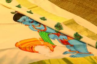 Mural Painted Handloom Kerala Sari