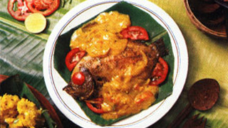 Karimeen Mappas or Pearl Spot cooked in coconut milk